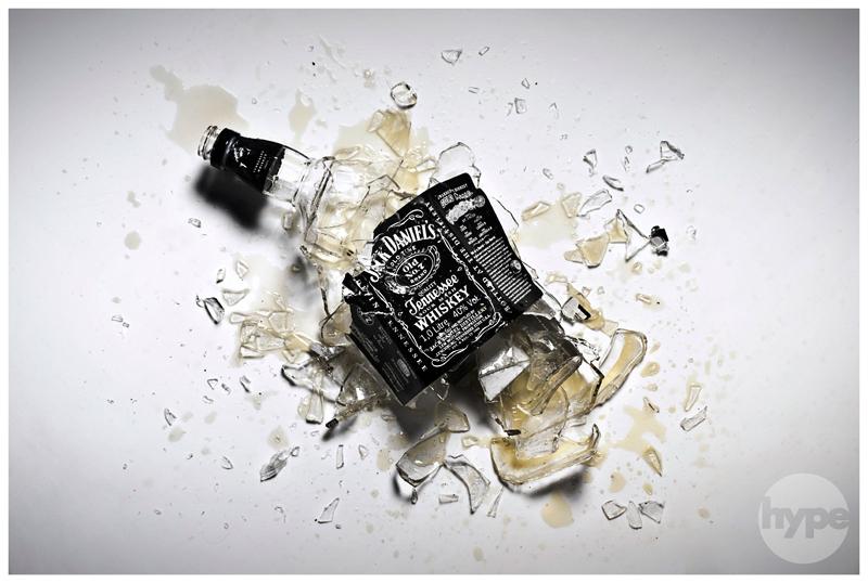 broken product photography Jack Daniels