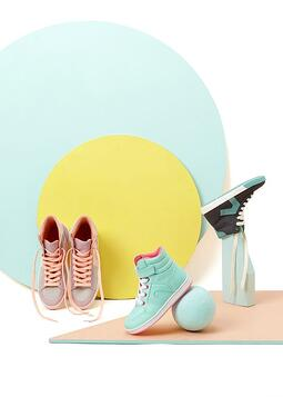 upside down sneakers product photography