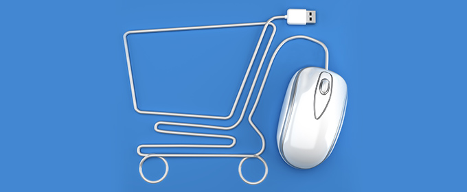 A shopping cart formed with an USB-cable and an optical mouse.