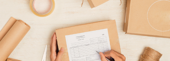 shipping form on a package for return