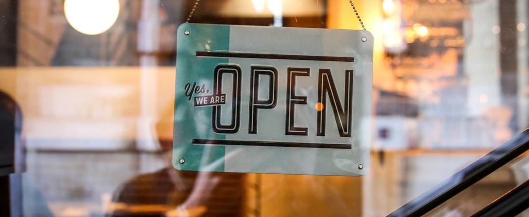 """door sign """"yes we are open"""""""
