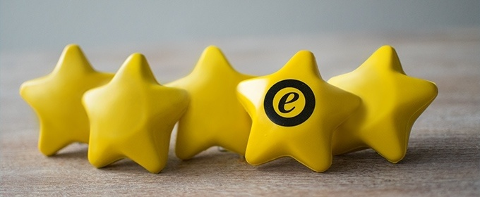 5 golden stars with e-trusted logo
