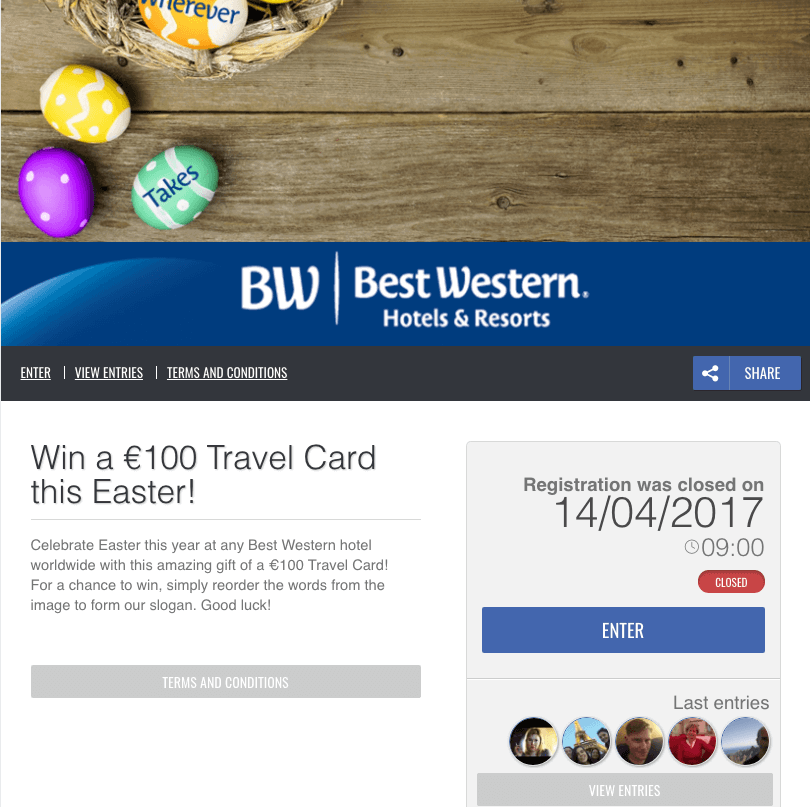 easter sweepstakes for Best Western