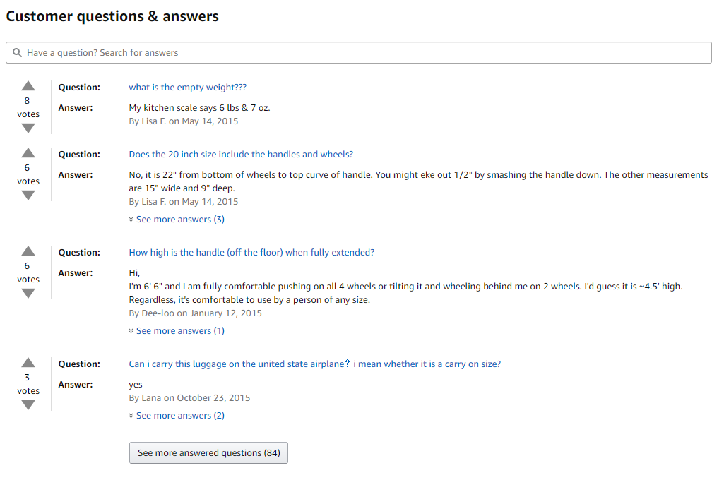 Q&A section on Amazon