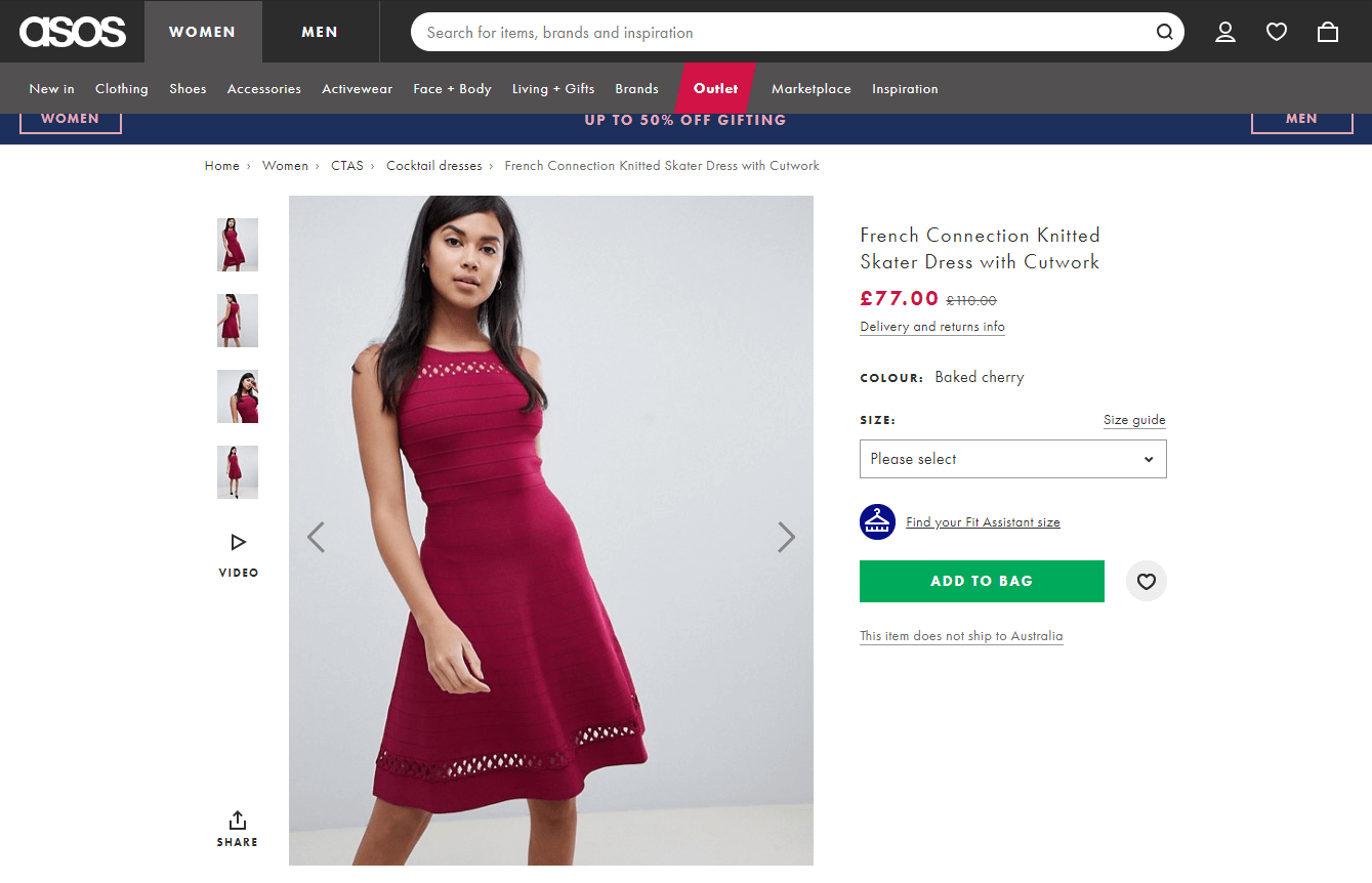 Asos product pages showing plenty of images