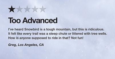 Snowbird negative review advertisement closeup