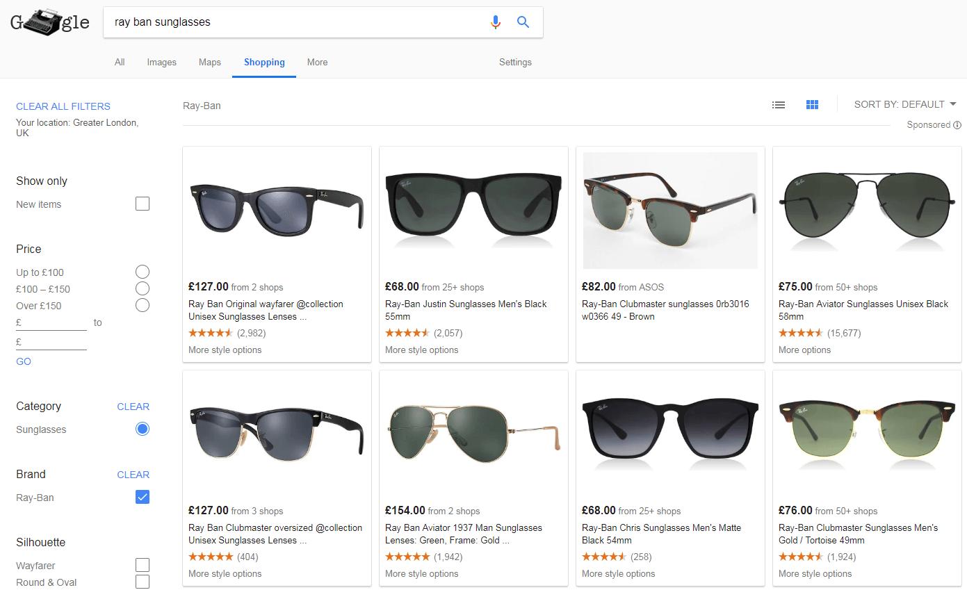 Google Shopping shows sunglasses
