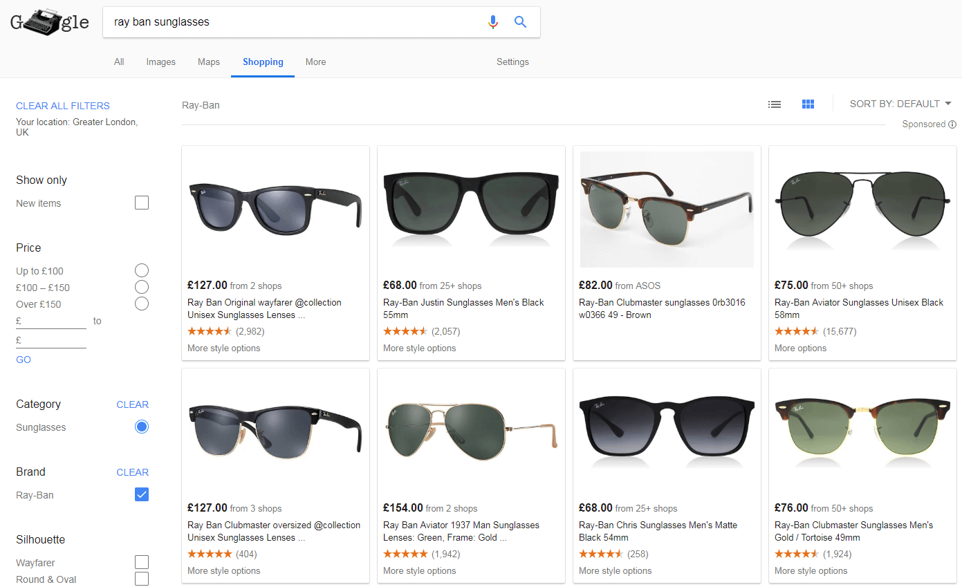 Google Shopping shows sunglasses