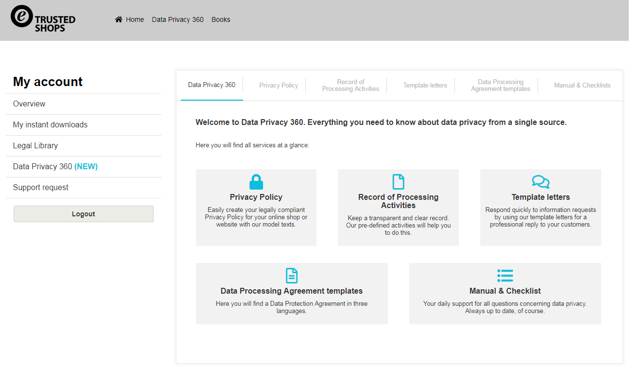 Trusted Shops Data Privacy 360 screenshot